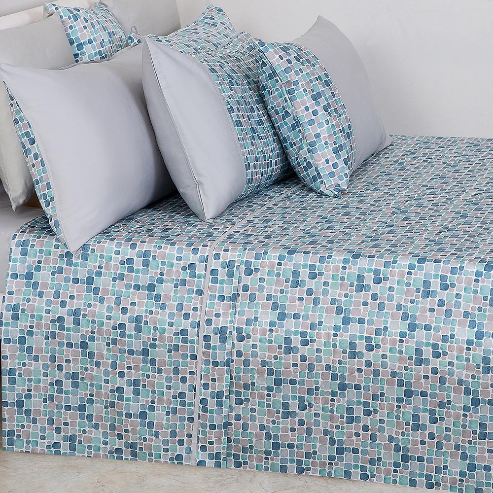 Parure Lenzuola su Misura Maxi King Size Raso Extra Fine di Puro Cotone TC300 Mosaico