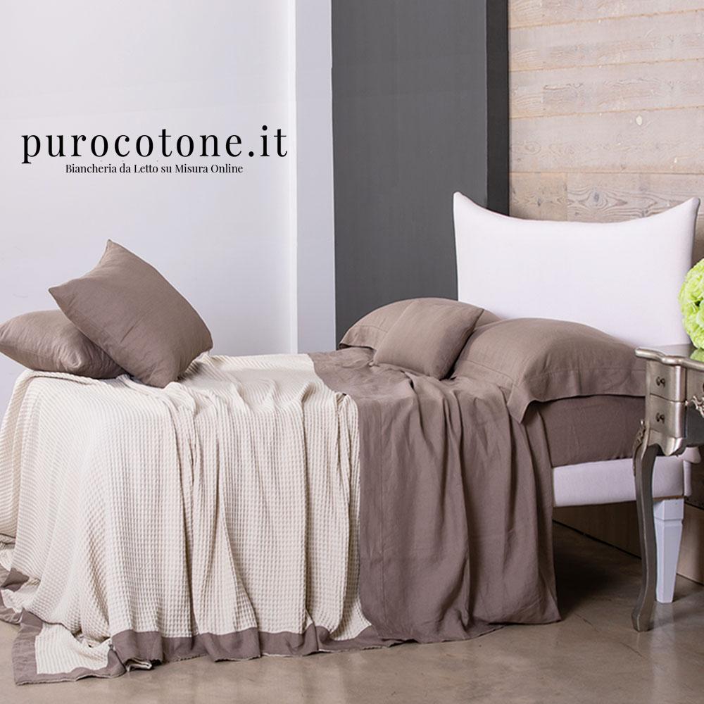 Copriletto Nido D'Ape Colore 1 100% Cotone con Bordo applicato Lino Stropicciato su Misura maxi King Size