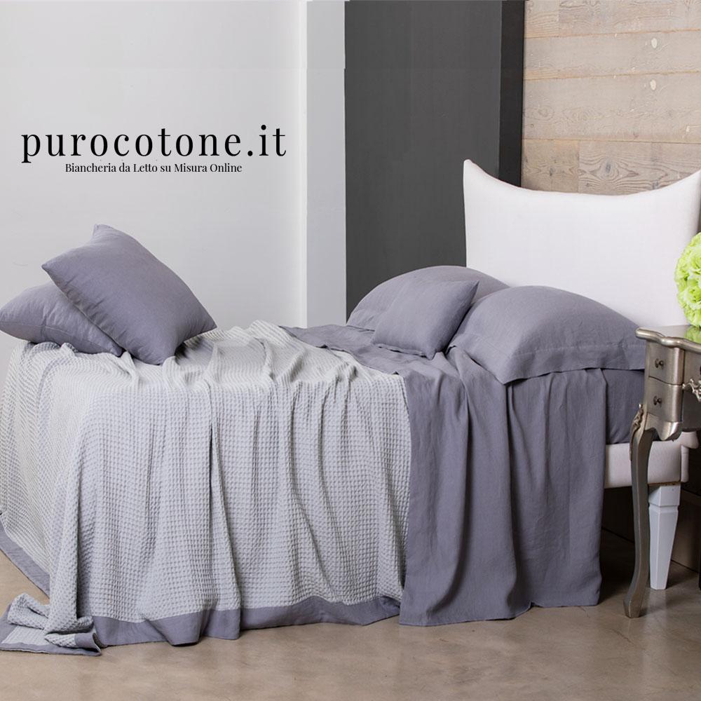 Copriletto Nido D'Ape Colore 2 Cotone con Bordo applicato Lino Stropicciato su Misura maxi King Size