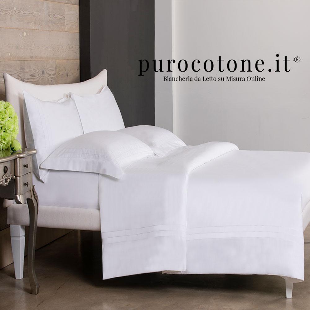 Outlet - Parure Copripiumino Matrimoniale - Raso Extra Fine TC300 Triplo Orlo a Giorno