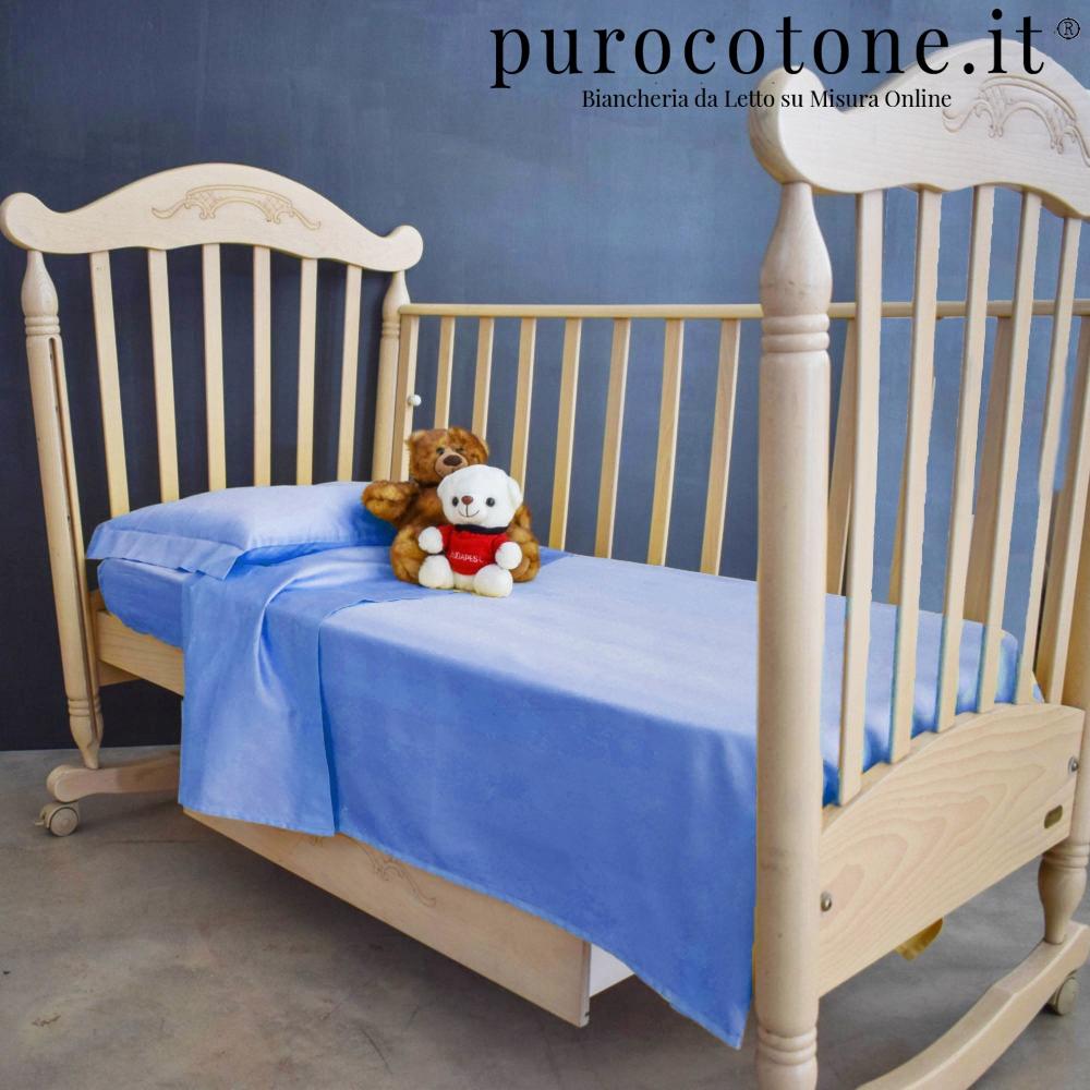 Lenzuola per Culla e Carrozzina Percalle Extra Fine di Puro Cotone TC200