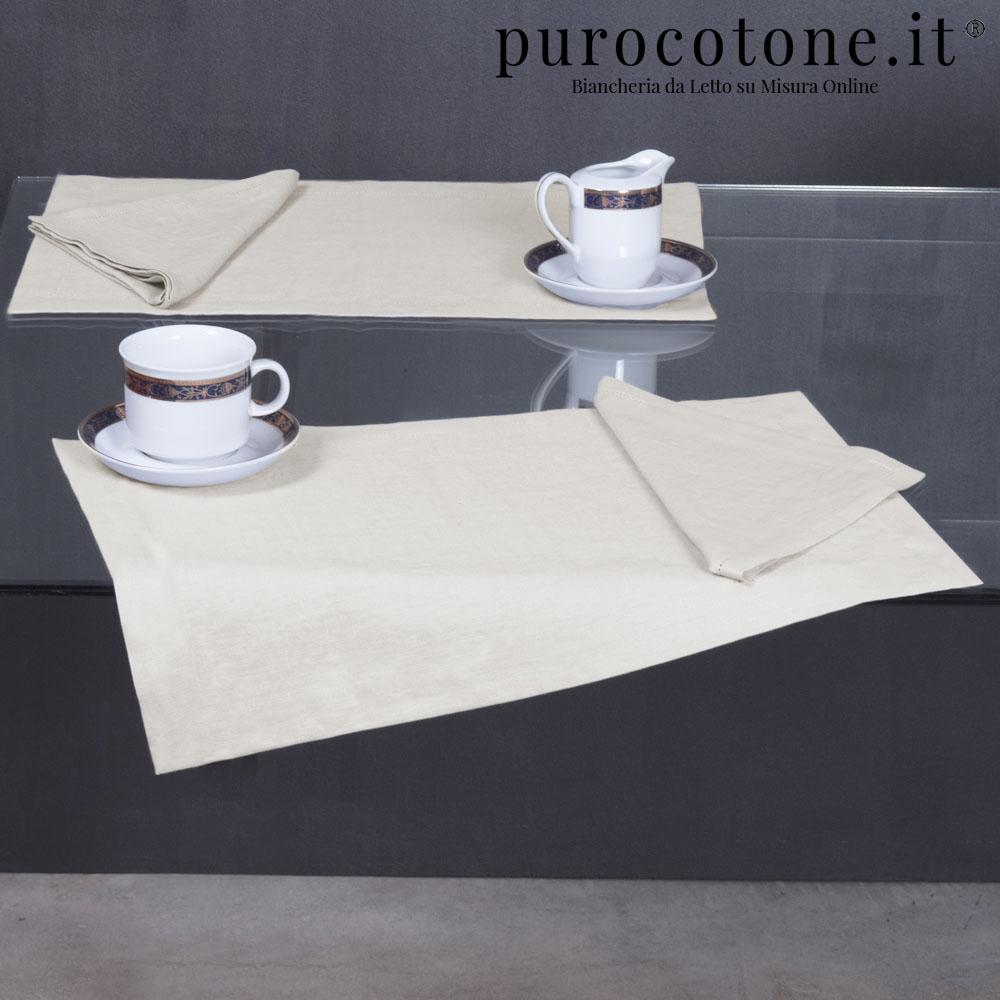 Set all'Americana Puro Lino Stropicciato Non Stiro mis. 40x50 Orlo Semplice