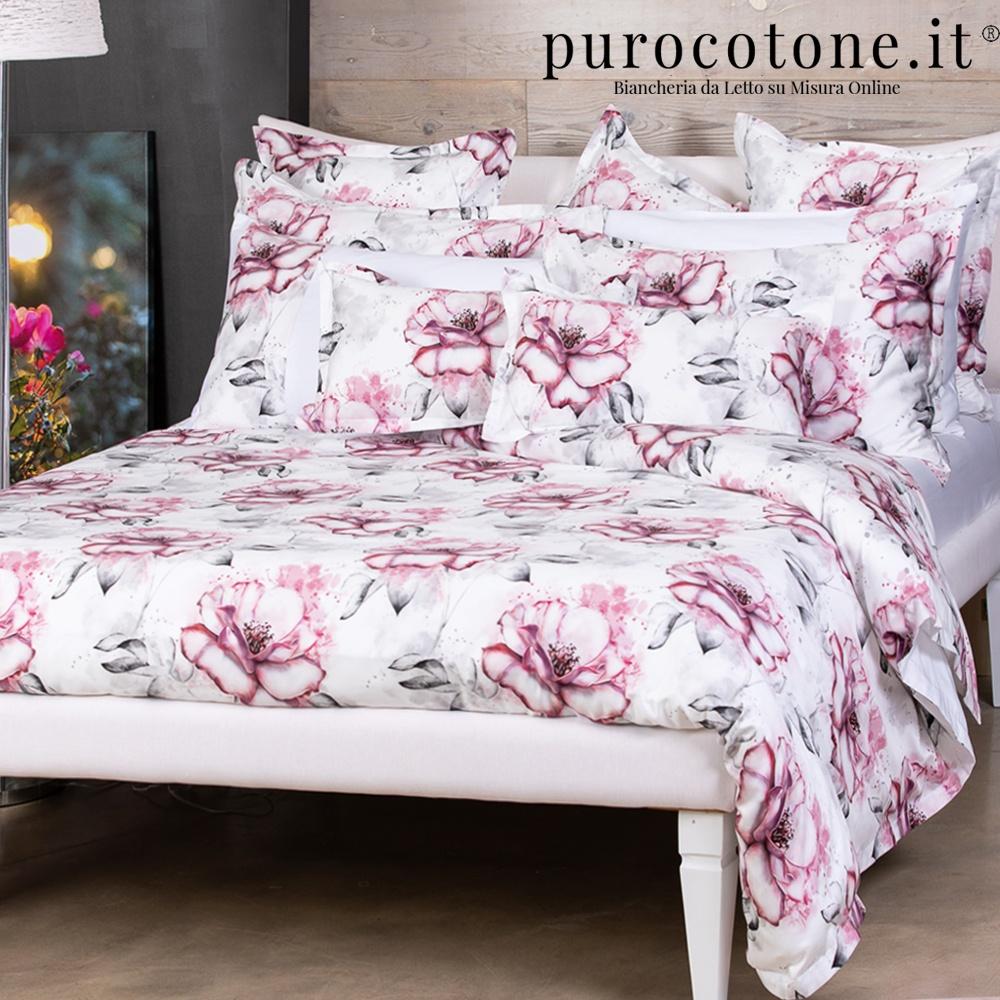 Parure Copripiumino Raso Extra Fine di Puro Cotone TC300 Romantica Outlet