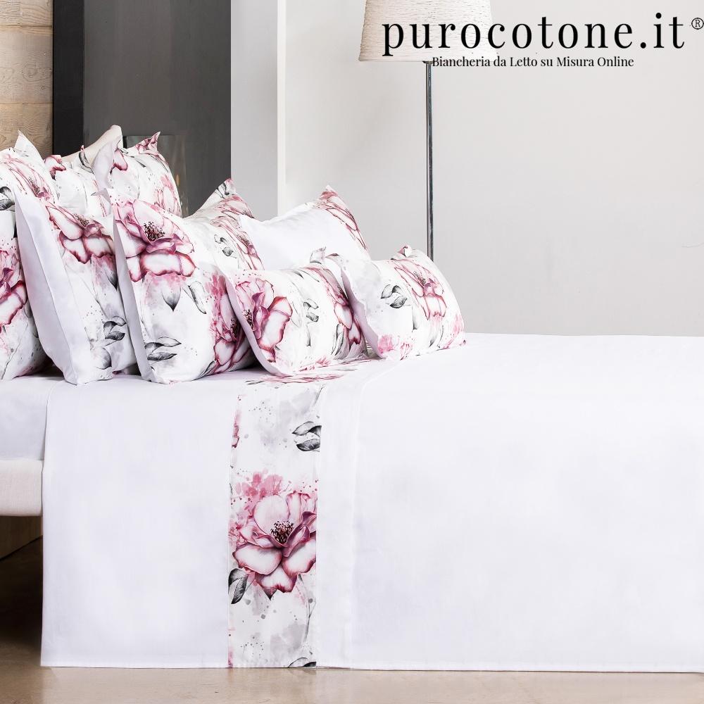 Lenzuola su Misura Maxi King Size Raso di Puro Cotone TC210 Romantica