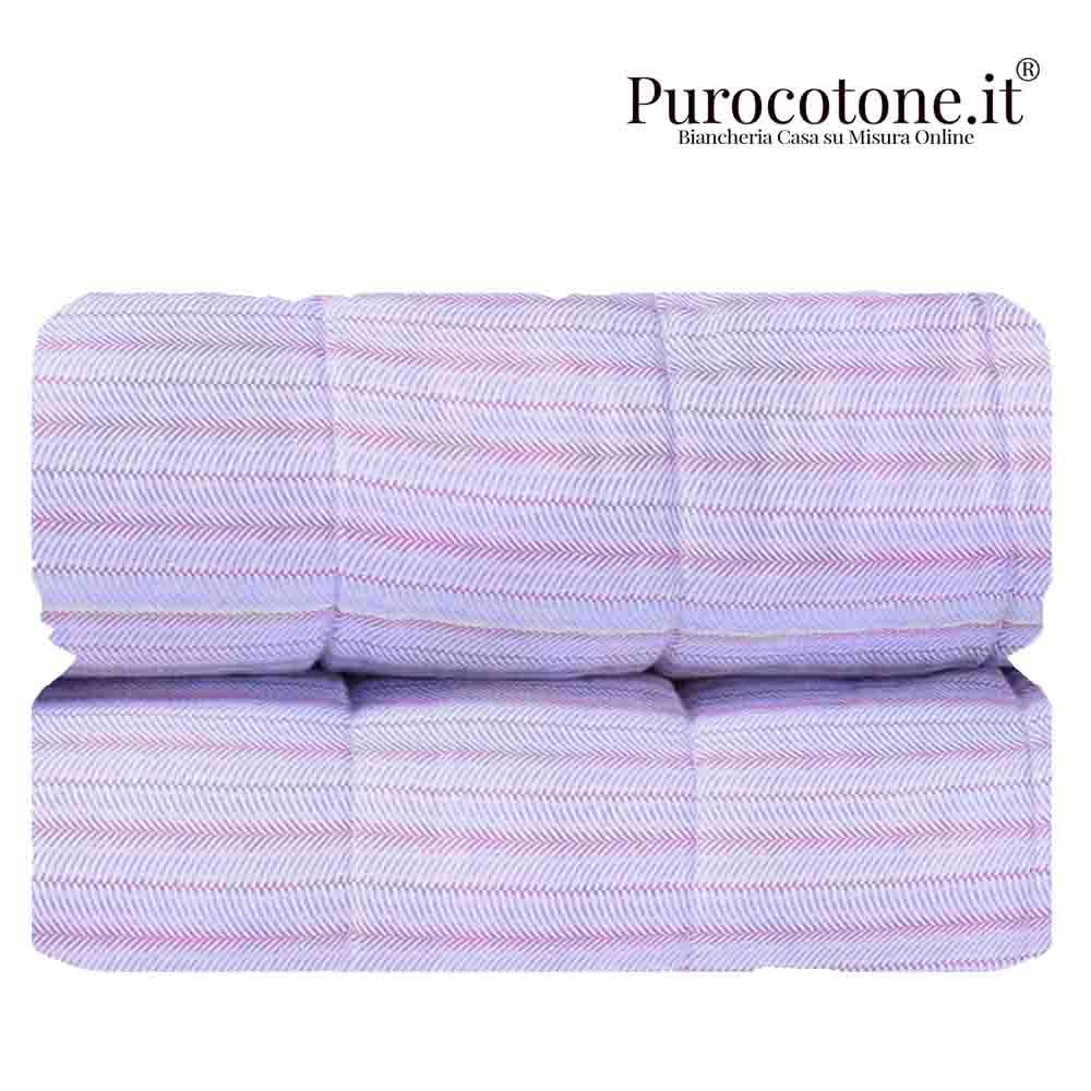 Outlet - Trapunta Primaverile Matrimoniale - 270X270 Raso Extra Fine Di Puro Cotone TC300 Spina di Pesce