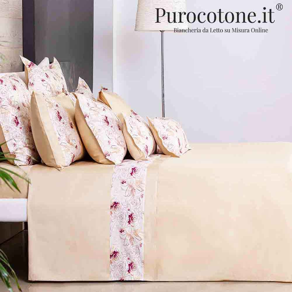 Outlet - Set Lenzuola Matrimoniali - Raso di Puro Cotone TC210 Bouquet