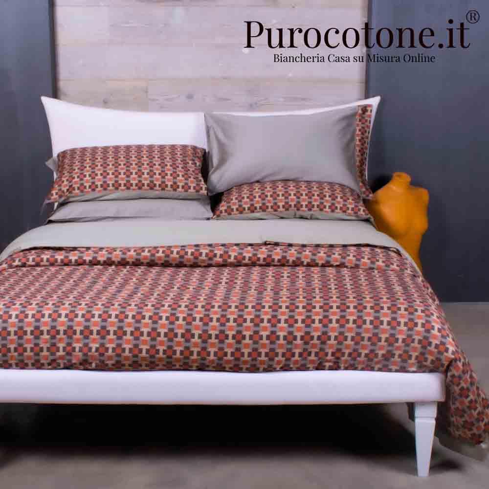 Outlet - Parure Copripiumino Matrimoniale - Raso Extra Fine Di Puro Cotone TC300 Cali 1 Colore Tortora Medio