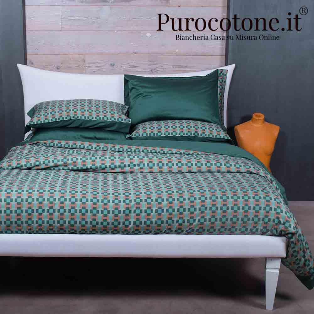 Parure Copripiumino Raso Extra Fine Di Puro Cotone TC300 Cali 2 Colore Verde Bottiglia