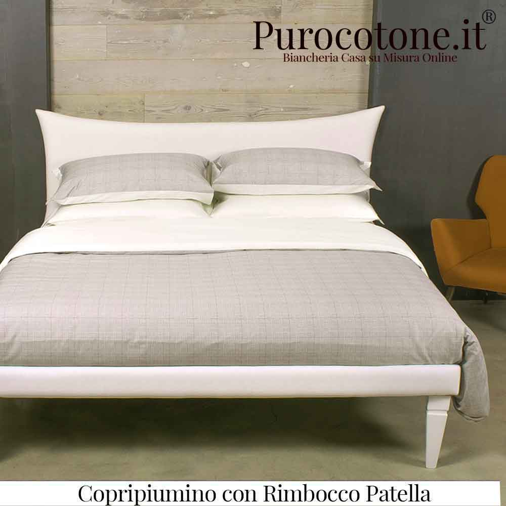 Parure Copripiumino Raso Extra Fine di Puro Cotone TC300 Kilt 2 Outlet