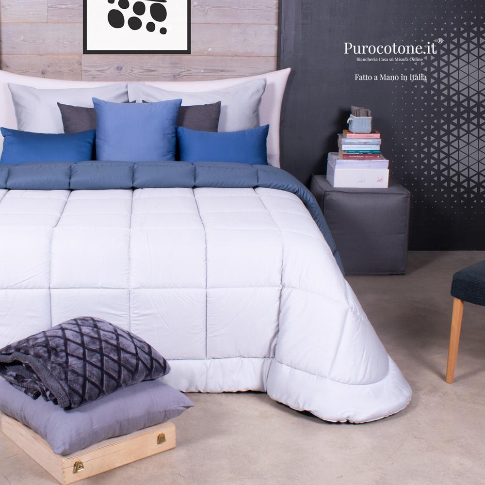 Trapunta su Misura Maxi King Size Invernale 100% Piumino Siberiano Cotone Extra Fine Stropicciato Non Stiro