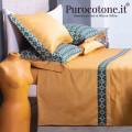 Lenzuola Complete Raso Extra Fine di Puro Cotone TC300 Cali 2 Colore Caramello