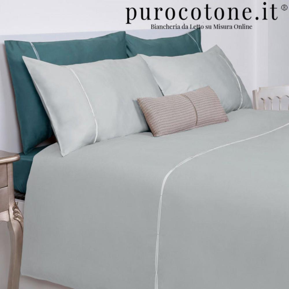 Outlet - Parure Copripiumino Matrimoniale - Percalle Extra Fine di Puro Cotone TC200 Grace