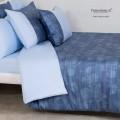 Outlet - Parure Copripiumino Matrimoniale - Raso Extra Fine Di Puro Cotone TC300 Indaco
