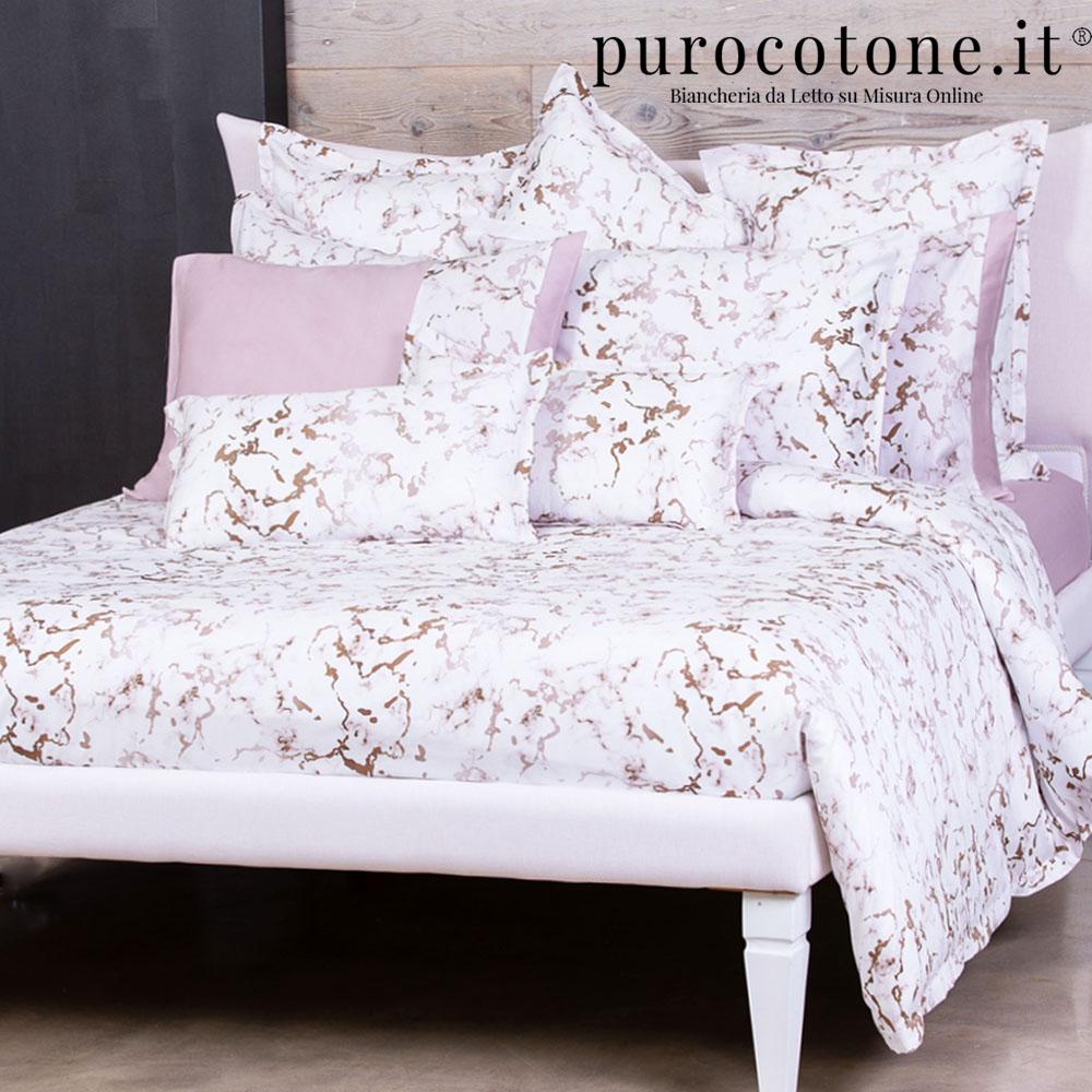 Outlet - Parure Copripiumino Matrimoniale - Raso Extra Fine di Puro Cotone TC300 Marmo