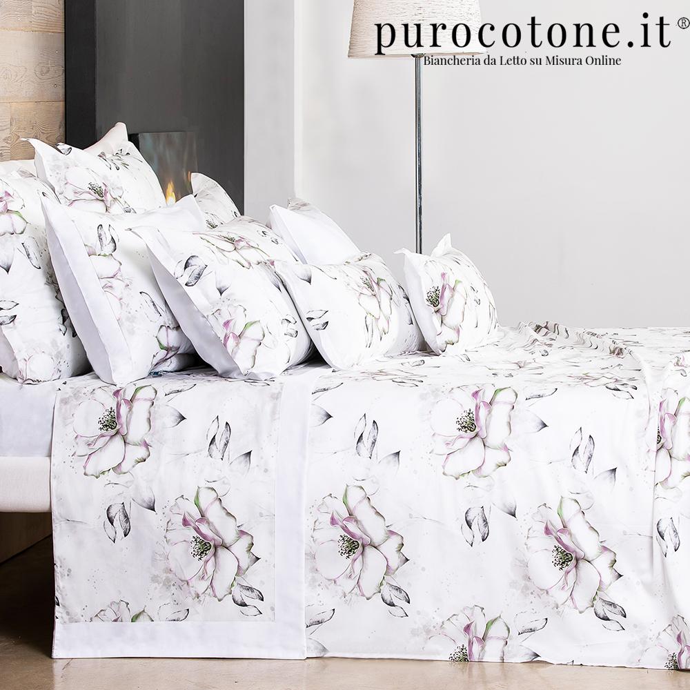 Outlet - Parure Lenzuola Matrimoniali - Raso Extra Fine di Puro Cotone TC300 Romantica