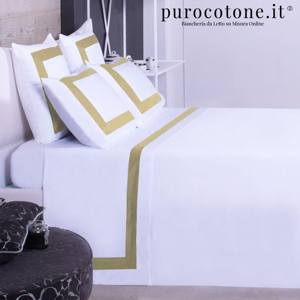 Lenzuola Raso di Puro Cotone TC210 Sinfonia Colore Panna Con Bordo Oro