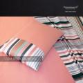 Outlet - Parure Lenzuola Matrimoniali - Raso TC300 Stripe 532M Rosa Salmone