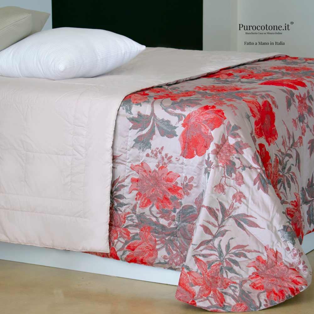 Trapuntino Matrimoniale 80G. Mq. Cotone 260x260 Jacquard Rose