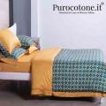 Parure Copripiumino Raso Extra Fine Di Puro Cotone TC300 Cali 2 Colore Caramello